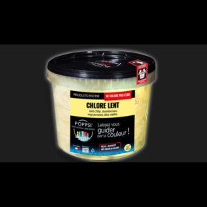 Chlore lent galet 250 g pour piscine.