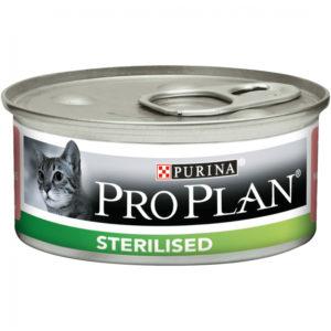 Purina Pro Plan Sterilised Pâtée au thon et au saumon en boite pour chat