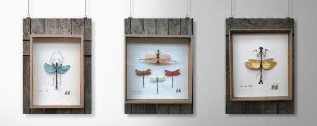 Les tableaux d'insecte fabriqué avec du fil, tissu et papier de Mérope l'Étang