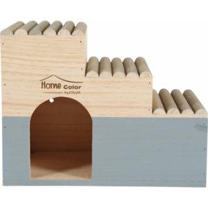 Maison en bois pour rongeur escalier rondin