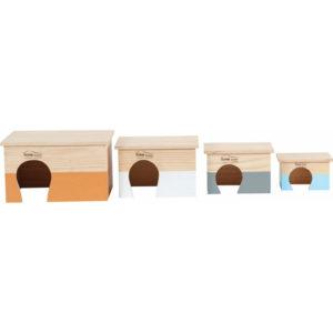 Maison rectangulaire en bois pour rongeur toit plat