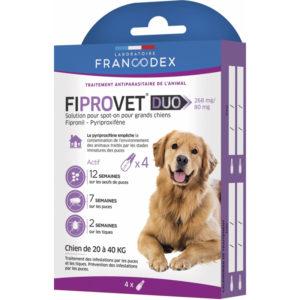 Caractéristiques du Francodex Fiprovet Duo Pipettes Spot-on pour chiens de 20 kg à 40 kg