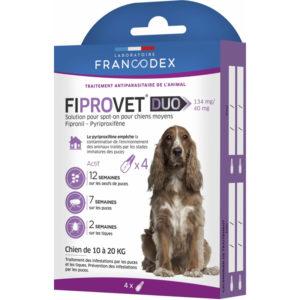 Francodex Fiprovet Duo Pipettes Spot-on pour petits chiens de 10 kg à 20 kg