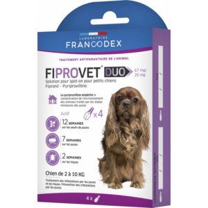 Francodex Fiprovet Duo Pipettes Spot-on pour petits chiens de 2 kg à 10 kg