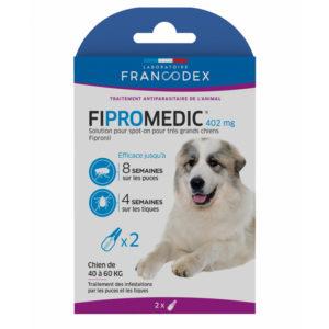2 Pipettes antiparasitaire de 4.02 ml. Fipromedic 402 mg. Pour très grand chiens de 40 kg à 60 kg.